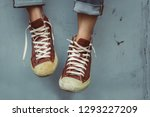 leg woman wear brown sneakers... | Shutterstock . vector #1293227209