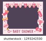 baby shower frame for girl....   Shutterstock .eps vector #1293242530