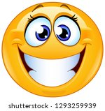grinning female emoticon with...   Shutterstock .eps vector #1293259939