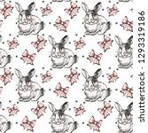 seamless pattern with hand... | Shutterstock .eps vector #1293319186