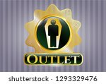 gold shiny badge with dead man ... | Shutterstock .eps vector #1293329476