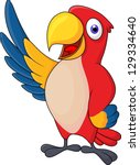 macaw bid carton waving | Shutterstock .eps vector #129334640