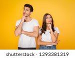 pensive couple thinking and... | Shutterstock . vector #1293381319