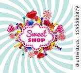 candy sweet shop template set... | Shutterstock .eps vector #1293382879