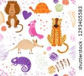 cute african animals and birds. ... | Shutterstock .eps vector #1293405583