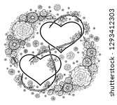 two hearts surrounded by flower ... | Shutterstock .eps vector #1293412303