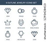 jewelry icons. trendy 9 jewelry ... | Shutterstock .eps vector #1293428413
