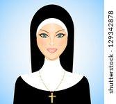 vector illustration of nun | Shutterstock .eps vector #129342878