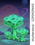 fantasy green alien mushrooms ... | Shutterstock .eps vector #1293429643