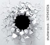 destruction of a white wall | Shutterstock . vector #129343526