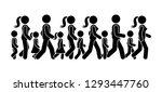 stick figure walking group of... | Shutterstock . vector #1293447760