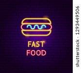 fast food neon label. vector... | Shutterstock .eps vector #1293449506