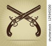 vintage crossed flintlock...   Shutterstock .eps vector #129345200