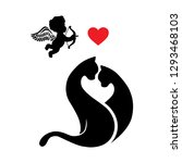 cats  heart and cupid | Shutterstock .eps vector #1293468103