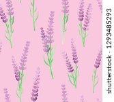 lavender flowers seamless... | Shutterstock .eps vector #1293485293