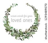 wreath with herbs and leaves...   Shutterstock .eps vector #1293489070