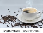 white cup of coffee on white... | Shutterstock . vector #1293490903