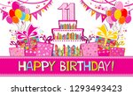 happy birthday card.... | Shutterstock .eps vector #1293493423