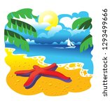 red sea star on yellow sand ... | Shutterstock .eps vector #1293499666