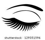 vector eye closed with long eye ... | Shutterstock .eps vector #129351596