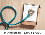 top view of stethoscope on...   Shutterstock . vector #1293517390