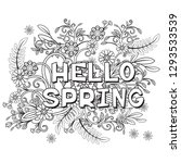 hello spring coloring page with ...   Shutterstock .eps vector #1293533539
