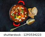 goulash soup in red pot and...   Shutterstock . vector #1293534223