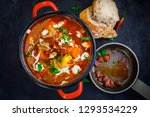 goulash soup in red pot and...   Shutterstock . vector #1293534229