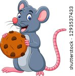cartoon mouse holding a cookie | Shutterstock .eps vector #1293537433