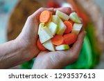 cut in pieces kohlrabi  celery...   Shutterstock . vector #1293537613