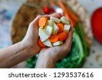 cut in pieces kohlrabi  celery...   Shutterstock . vector #1293537616