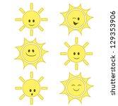 funny cartoon sun set | Shutterstock .eps vector #129353906