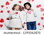 happy pre teen boy and girl ... | Shutterstock . vector #1293562870