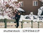 little cute boy is having fun... | Shutterstock . vector #1293566119