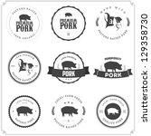 set of premium pork meat labels | Shutterstock .eps vector #129358730