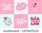 set of valentine's day romantic ... | Shutterstock .eps vector #1293625123