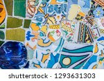 colorful mosaic tiles at guell... | Shutterstock . vector #1293631303