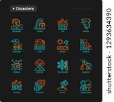 disasters thin line icons set ... | Shutterstock .eps vector #1293634390