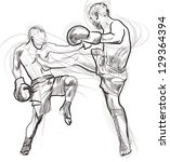 muay thai  combat martial art...   Shutterstock . vector #129364394