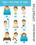 daily routine of happy kids.... | Shutterstock .eps vector #1293647146