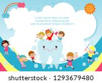 children cleaning teeth with... | Shutterstock .eps vector #1293679480