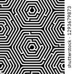 black and white hexagon maze...   Shutterstock .eps vector #1293679873