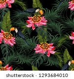 tropical seamless pattern with... | Shutterstock . vector #1293684010