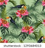 tropical seamless pattern with... | Shutterstock . vector #1293684013