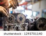 closeup repair of an opposing... | Shutterstock . vector #1293701140