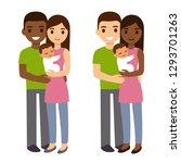 interracial couple with newborn ... | Shutterstock .eps vector #1293701263