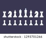 White Chess Pieces Icon Set On...