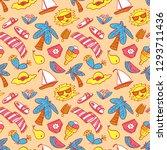 summer objects seamless pattern.... | Shutterstock .eps vector #1293711436
