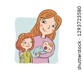 mother shows to the eldest... | Shutterstock .eps vector #1293723580