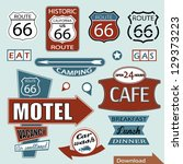 route 66 sign. symbol and... | Shutterstock .eps vector #129373223